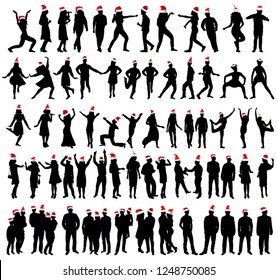 vector, isolated, people silhouette new year, set