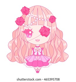 Vector isolated pink decorative chibi lolita doll character with roses and eyepatch