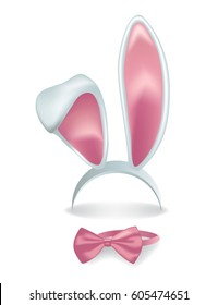 Vector  isolated pink rabbit ears with bow tie.