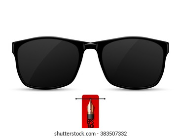 Vector isolated real black protective sunglasses.