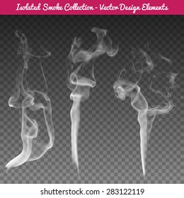 Vector isolated realistic cigarette smoke waves.