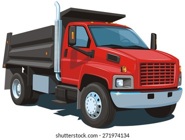 Vector isolated red dump truck on white background without gradients and transparency