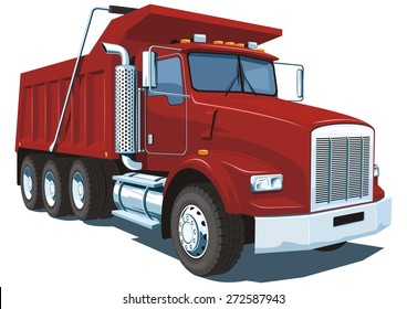 Vector isolated red dump truck on white background without gradients and transparency.