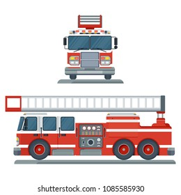 Vector isolated red fire engine front and side view. Fire truck rescue engine transportation. Firefighter emergency. Flat cartoon illustration. Objects isolated on a white background.