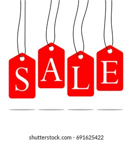 Vector isolated red hanging sales tags,illustrations