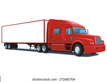 Vector isolated red semi truck on white background, without gradients.