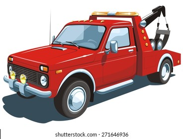 Vector isolated red tow truck on white background without gradients.