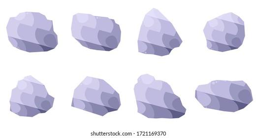Vector isolated rock stones on white background, the cute collection of rock stones, illustration