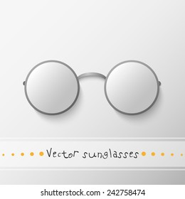 Vector isolated round sunglasses on the grey background