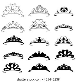 vector, isolated, set of crowns female,tiara