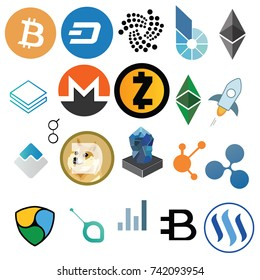 Vector isolated set of cryptocurrency icons on white background. Digital finance money illustration