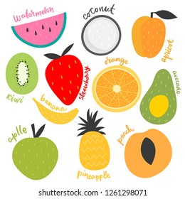 Vector isolated set of decorative kids fruit for print, decor.