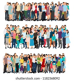 vector, isolated, set, flat style crowd of people