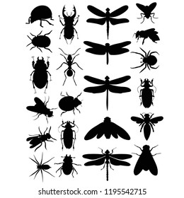 vector isolated set of insects silhouettes