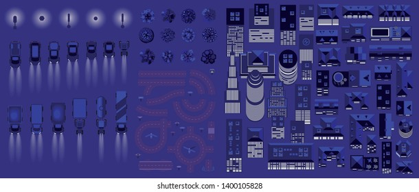 Vector isolated set. Night city. Top view. Collection for the night cityscape. Skyscraper, house, car, lantern, tree, road. View from above.