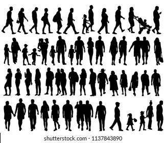 vector, isolated, set of silhouettes people go, collection