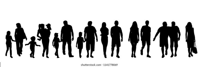 vector, isolated, set of silhouettes of walking people