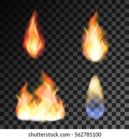 Vector isolated set of transparent realistic flame effects. Fire illustration, candle light, burning, hot, devouring element, bonfire, twinkle, combustion. torch, match, gas, energy, shine