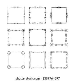 Vector isolated set of vintage wedding square frames and fancy flourish borders. Calligraphic design elements.