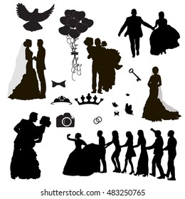 vector, isolated, set of wedding icons and silhouettes of the bride and groom