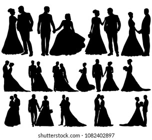 vector, isolated, set of wedding silhouettes