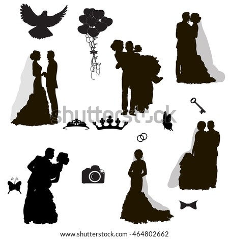 3de6dd3d152ebb Vector Isolated Set Wedding Silhouettes Iconic Stock Vector (Royalty ...