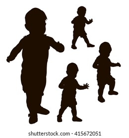 vector , isolated, silhouette baby toddler set