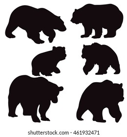 vector isolated silhouette of a bear, set