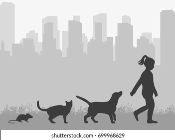 Vector, isolated silhouette of a cat and a dog, a mouse and a baby