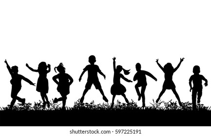 Vector, isolated, silhouette of children jumping on the grass, childhood