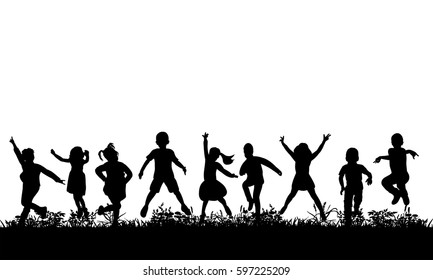 Vector, isolated, silhouette of children jumping on the grass