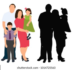vector isolated silhouette in colored clothes family with children, happiness