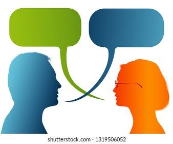 Vector isolated Silhouette of colored profile. Speech bubble. Talking between a man and a woman. Dialogue - discussion - chat communication between couple or people
