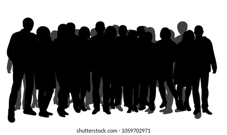 vector, isolated silhouette of a crowd of people on a white background