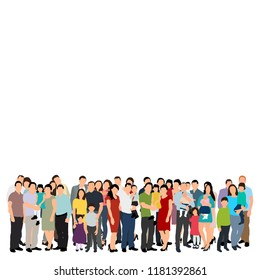 vector, isolated, silhouette of a crowd of people, flat style