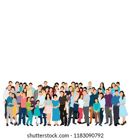 vector, isolated, silhouette of a crowd of people, group, flat style