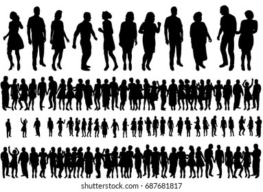Vector, isolated silhouette of dancing group of people, set