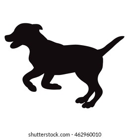 vector isolated silhouette of a dog jumping