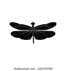 vector, isolated, silhouette dragonfly, alone