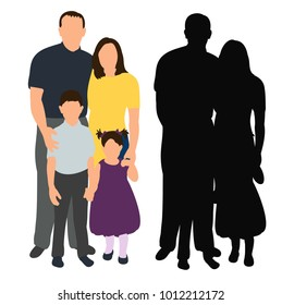 vector, isolated silhouette family