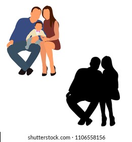 vector, isolated, silhouette family sitting
