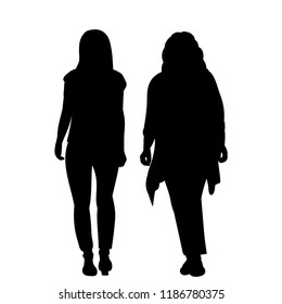 vector, isolated, silhouette girl is coming