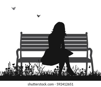 vector isolated silhouette of a girl sitting on a bench in the Park