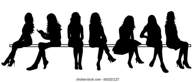 Vector, isolated silhouette of a girl sitting