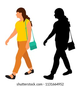 vector, isolated, silhouette girl walking, flat style