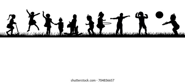 vector, isolated silhouette group of children playing on nature