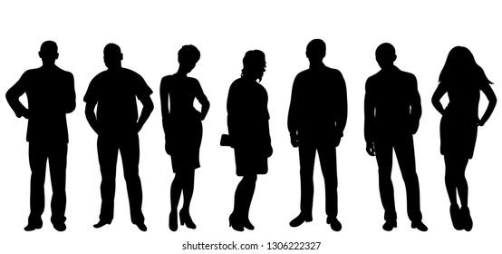 vector isolated, silhouette of a group of people