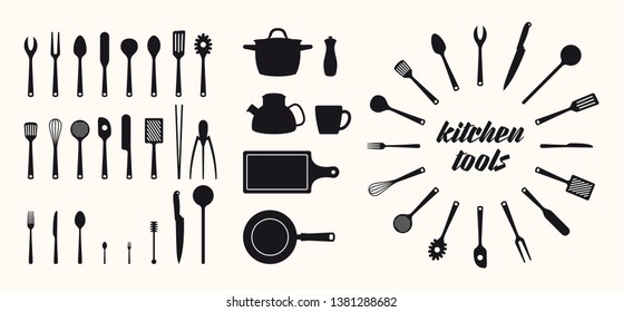 Vector isolated silhouette icon set kitchen utensils tools.