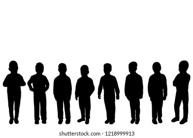 vector, isolated, silhouette kids group