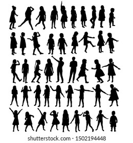vector, isolated, silhouette kids set, collection